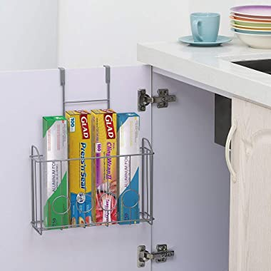 NEX Over the Cabinet Door Organizer Cabinet Storage Basket for Cutting Board, Aluminum Foil, Cleaning Supplies, Silver