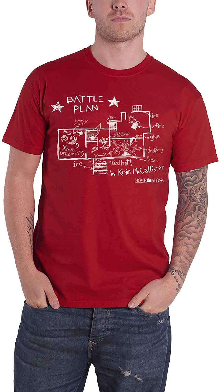 Home Alone Officially Licensed Battle Plan Mens T-Shirt (Tango-Red)