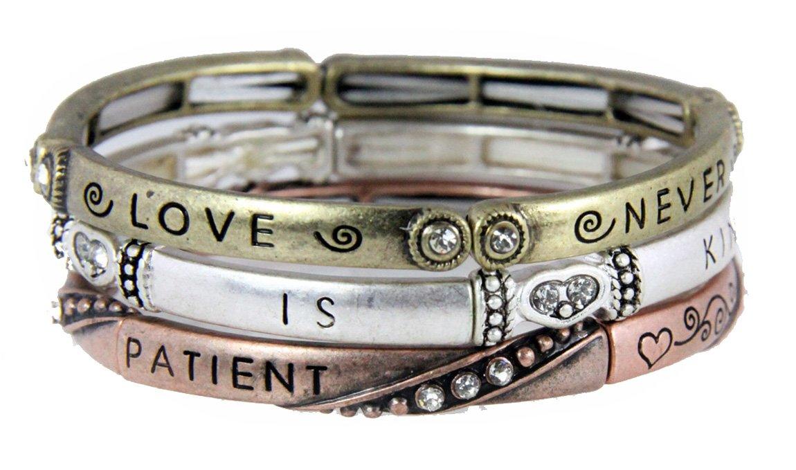 4030472 3 Piece Bracelet Set Love is Patient 1st Corinthians Christian Religious Jewelry
