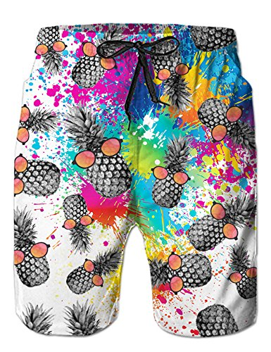 - Loveternal Men's Printed Beach Shorts Adjustable Drawstring Waist Swimming Trunks with Mesh Lining Guys Swim Trunks Color Splash Men Bathing Suit L