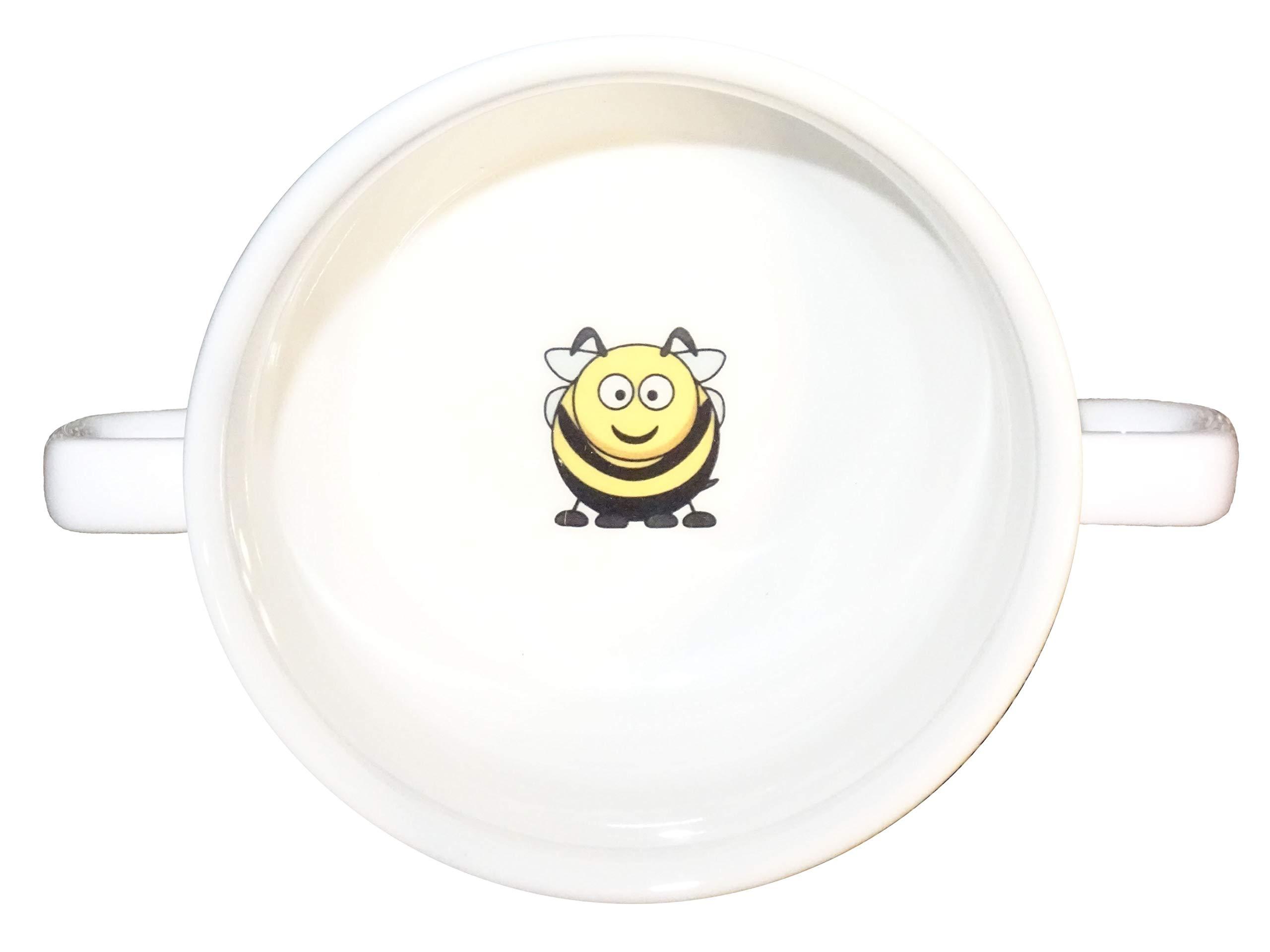 Soup Bowl 11, 1 pcs, bee Soup Bowl Small Baby Child Kids, Bottom, Hidden Message, Secret Message, Animal, Cartoon, Animal, Bi, Cartoon, Honey, Good Cartoon Drawings, Kids, Porcelain