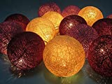 Design by UnseenThailand Purple Tone Handmade Cotton Ball String Lights Decoration (3metre 20 Globes/pack) Decor Wedding Bedroom Garden Spa and Holiday Lighting. (Cream - Purple - Dark Red)