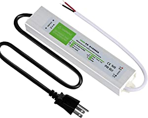 PLUSPOE Waterproof 12 volt 60 watt LED Power Supply Driver Transformer with 3-Prong Plug, Aluminum Alloy Housing IP67