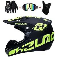 CHEYAL Motorradhelm Cross Helme Schutzhelm Motocross Helm für Motorrad Crossbike Off Road Enduro Sport mit Handschuhe Sturmmaske und Brille 58-59CM (Gelb Fluoreszenz)
