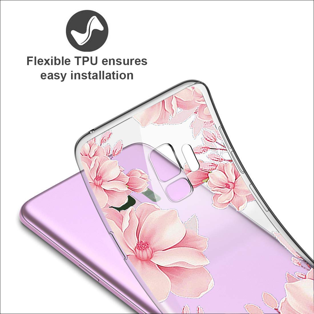 18eay H/ülle Compatible with Samsung Galaxy S9 Plus Transparent Ultra Slim Handyh/ülle TPU Case Sto/ßd/ämpfend Bumper Pattern Handytasche Cover f/ür Galaxy S9 schutzh/ülle/ülle