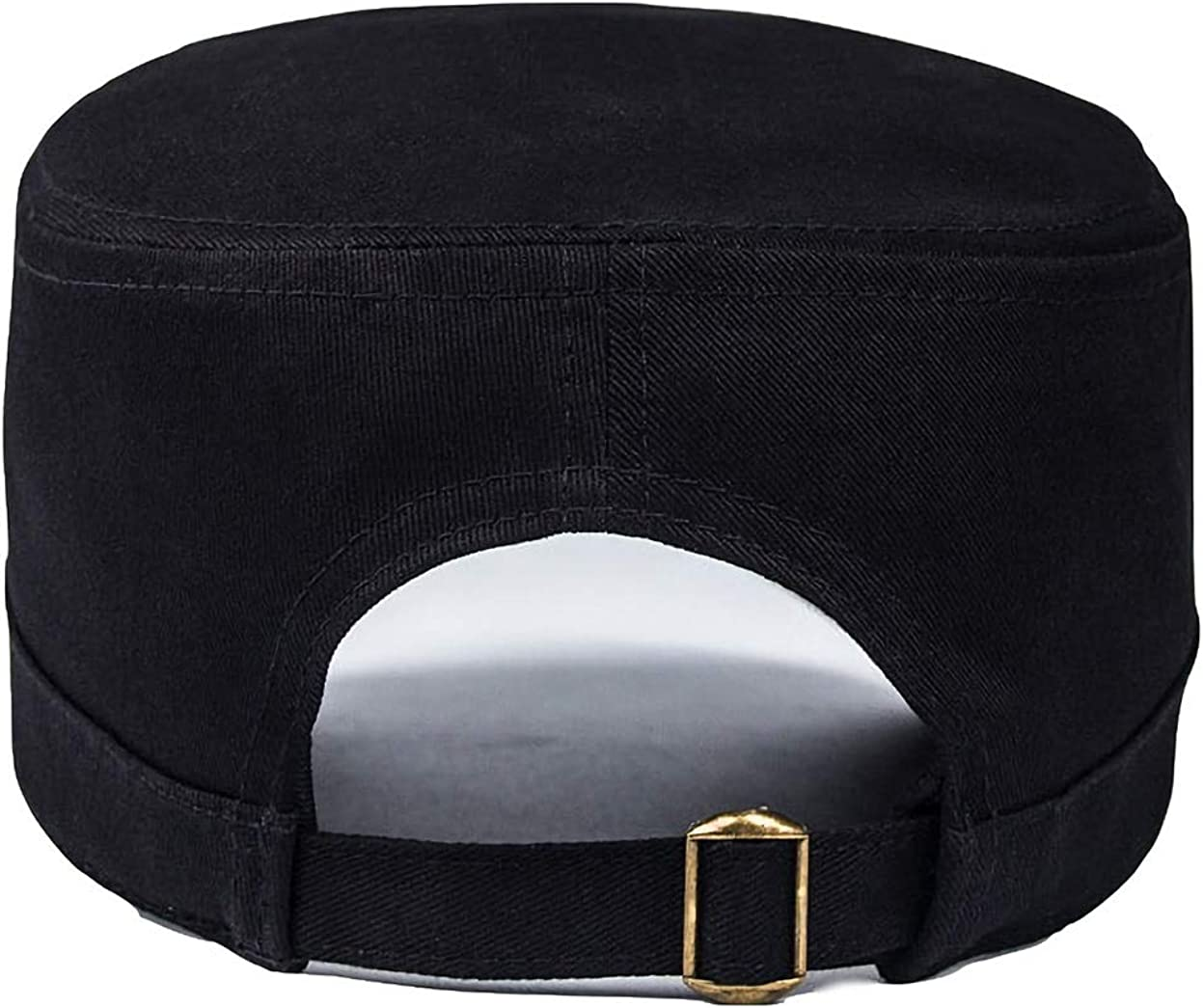 S Fasbys Unisex 100/% Cotton Twill Military Cadet Cap Men Women Fat Top Hat Solid Baseball Visor Cap Black:56cm