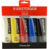Royal Talens Amsterdam Standard Series Acrylic Color, 120ml Tubes, Set of 5 Primary Colors (17790905) Multicolor