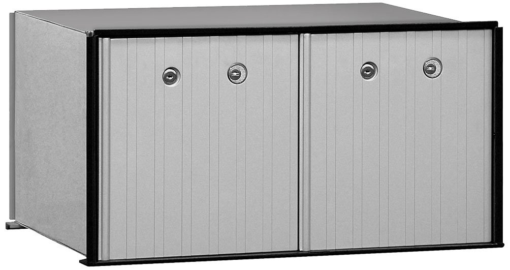 Salsbury Industries 2272P Aluminum Parcel Locker with Master Locks, 2 Doors, Private Access, Aluminum with Black Trim
