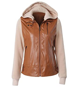 ddd2eb92d Tasatific Womens Bomber Jacket, Two Tones Faux Leather Zip Up with ...