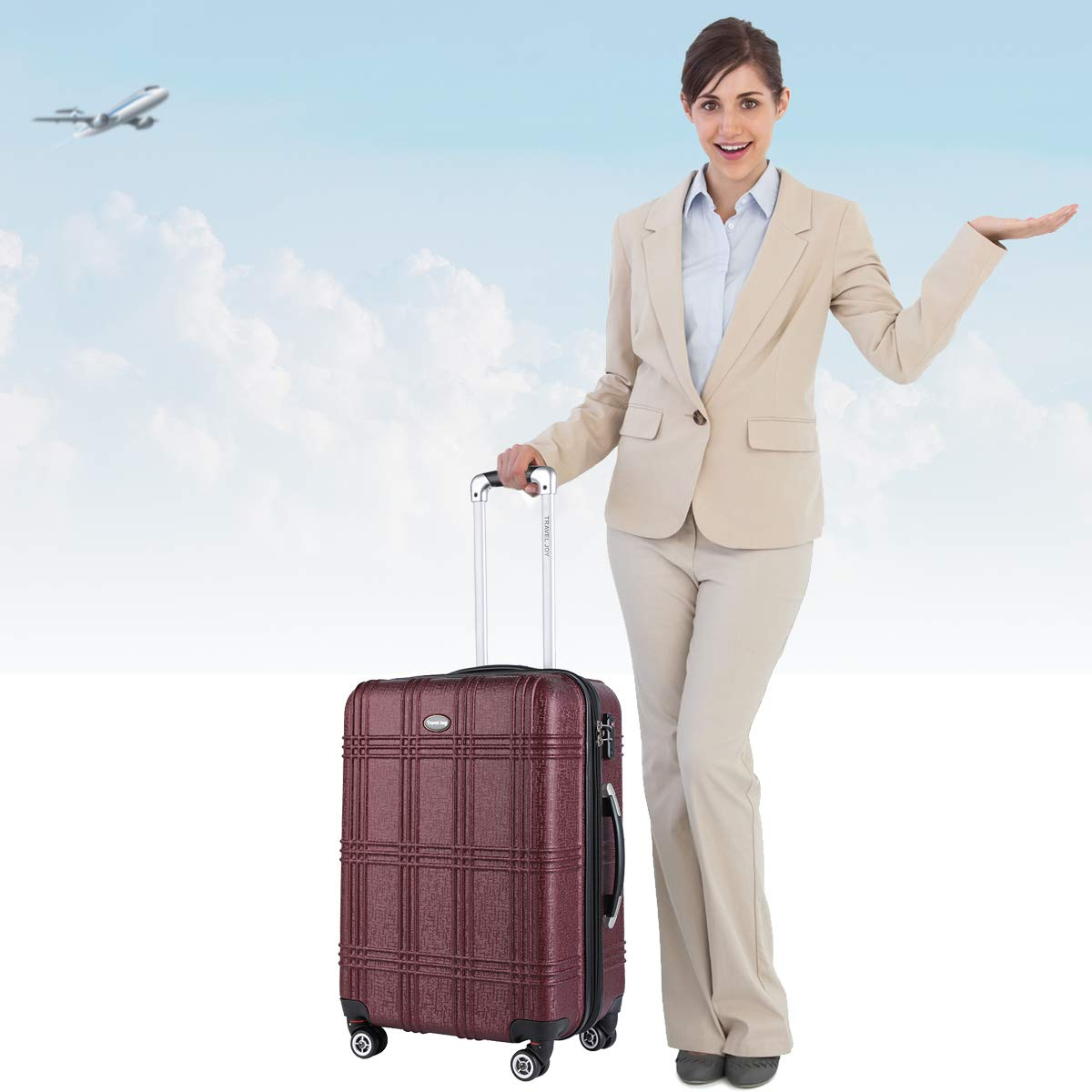 Expandable Carry On Luggage Lightweight Spinner Carry Ons TSA Hardside Luggage Suitcase, 20 inches (BURGUNDY) by Travel Joy (Image #6)