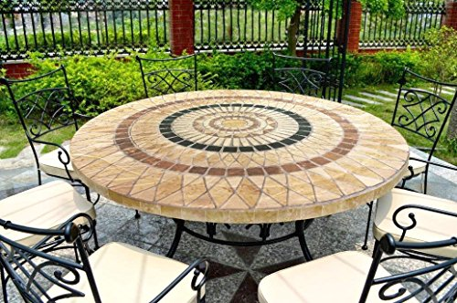 "Carol Wright Gift Deluxe Fitted Tablecloths - Round Tablecloth (Fits tables 44-48"" diam.) (Mosaic Tile Pattern)"