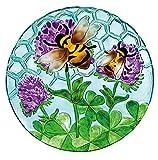 Evergreen Busy Bee Days Glass Birdbath Bowl , 18 inches