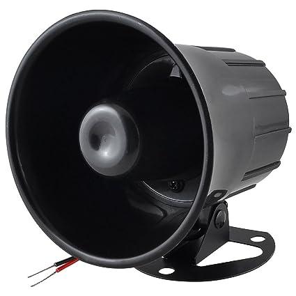 uxcell DC 12V 15W Car Security Alarm Siren Horn Black