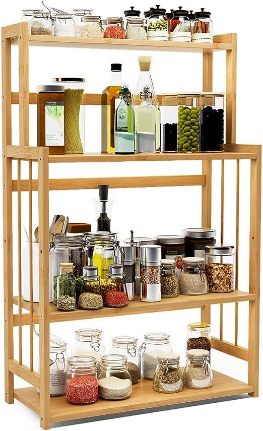 Kitchen Spice Jars Racks Wooden Seasoning Shelf Holder Storage Organizer Stand