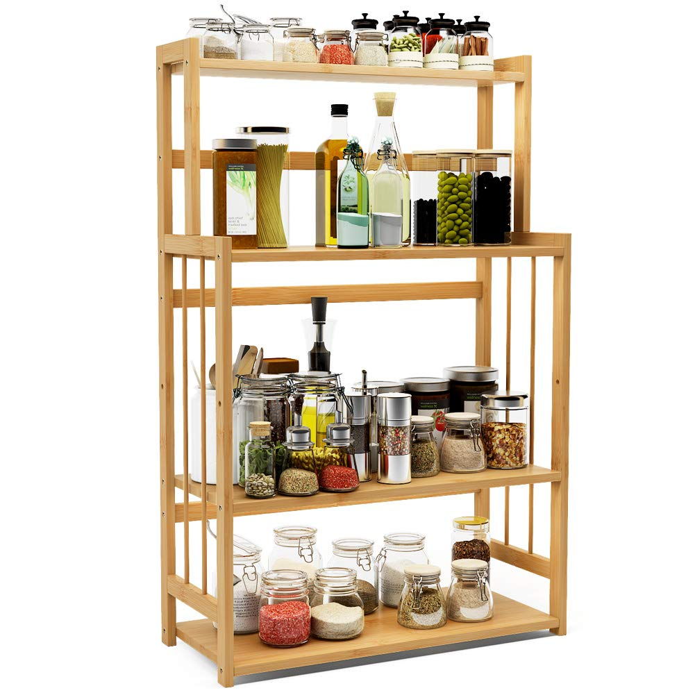 4-Tier Standing Spice Rack LITTLE TREE Kitchen Bathroom Countertop Storage Organizer, Bamboo Spice Bottle Jars Rack Holder with Adjustable Shelf, Bamboo by LITTLE TREE