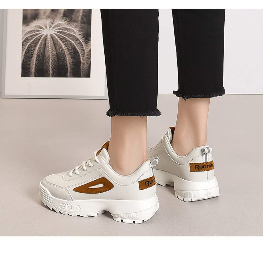 Damenschuhe HWF Walking Sport Damen Schnür Turnschuhe Walking HWF Bequeme Casual Fitness Schuhe (Farbe   Beige größe   37) c9a3c5