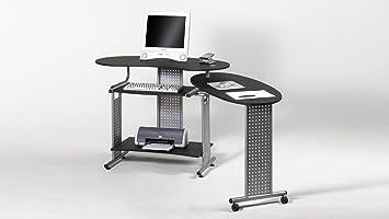 Möbel Akut Computertisch Twin Schreibtisch Schwarz Seitliche Ablage
