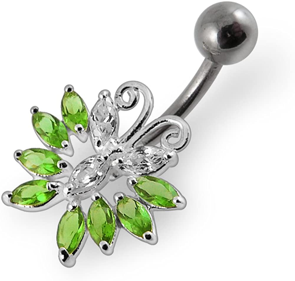 Fashion Butterfly 925 Sterling Silver with Stainless Steel Belly Button Rings