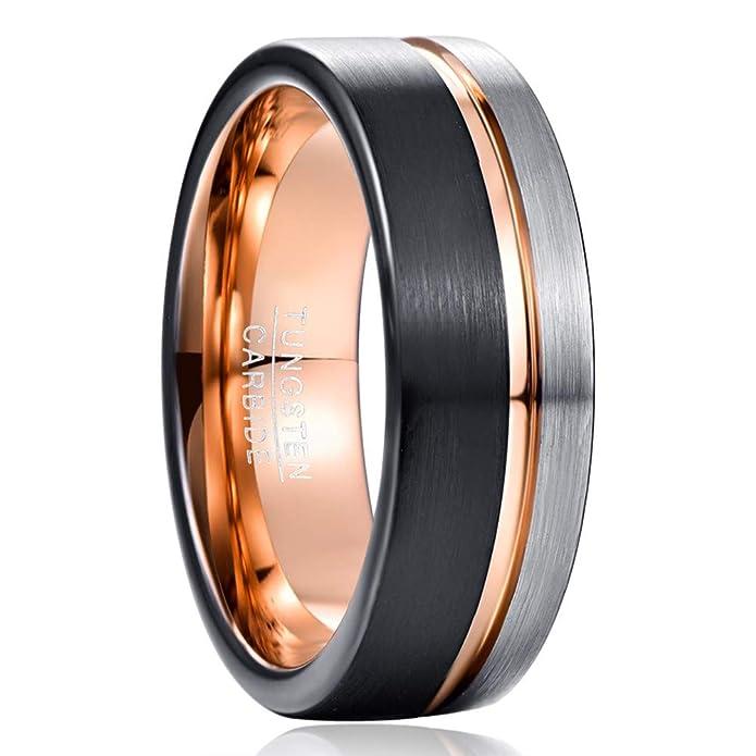 Vakki Ring Wolframcarbid 10 mm Schwarz hochglanzpoliert mit Blauer Innenseite Flache Kanten Bequeme Passform