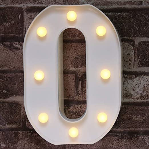 Decorative Led Light Up Number Letters, White Plastic Marquee Number Lights Sign Party Wedding Decor Battery Operated Number (0)