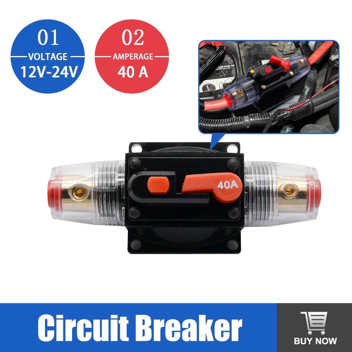 MASO 12V-24V DC Car Audio Inline Circuit Breaker Fuse Block for Auto Motor Car Marine Boat Audio Solar Inverter System Protection 40 Amp Circuit Breaker with Manual Reset