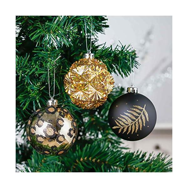 Valery Madelyn Palle di Natale 16 Pezzi 8 cm Palline di Natale, Festa Tropicale Dorata Ornamenti di Palla di Natale Infrangibili Neri e Dorati per la Decorazione Dell'Albero di Natale 4 spesavip