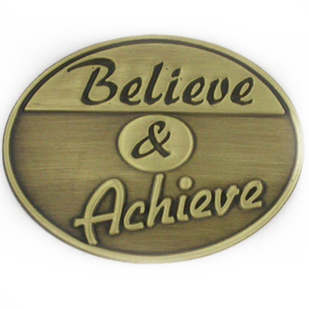 PinMart's Antique Bronze Corporate Believe and Achieve Motivation Lapel Pin by PinMart