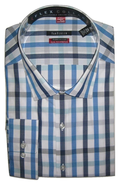 Van Heusen Studio Men\'s Slim-Fit Spread-Collar Dress Shirt, Indigo ...