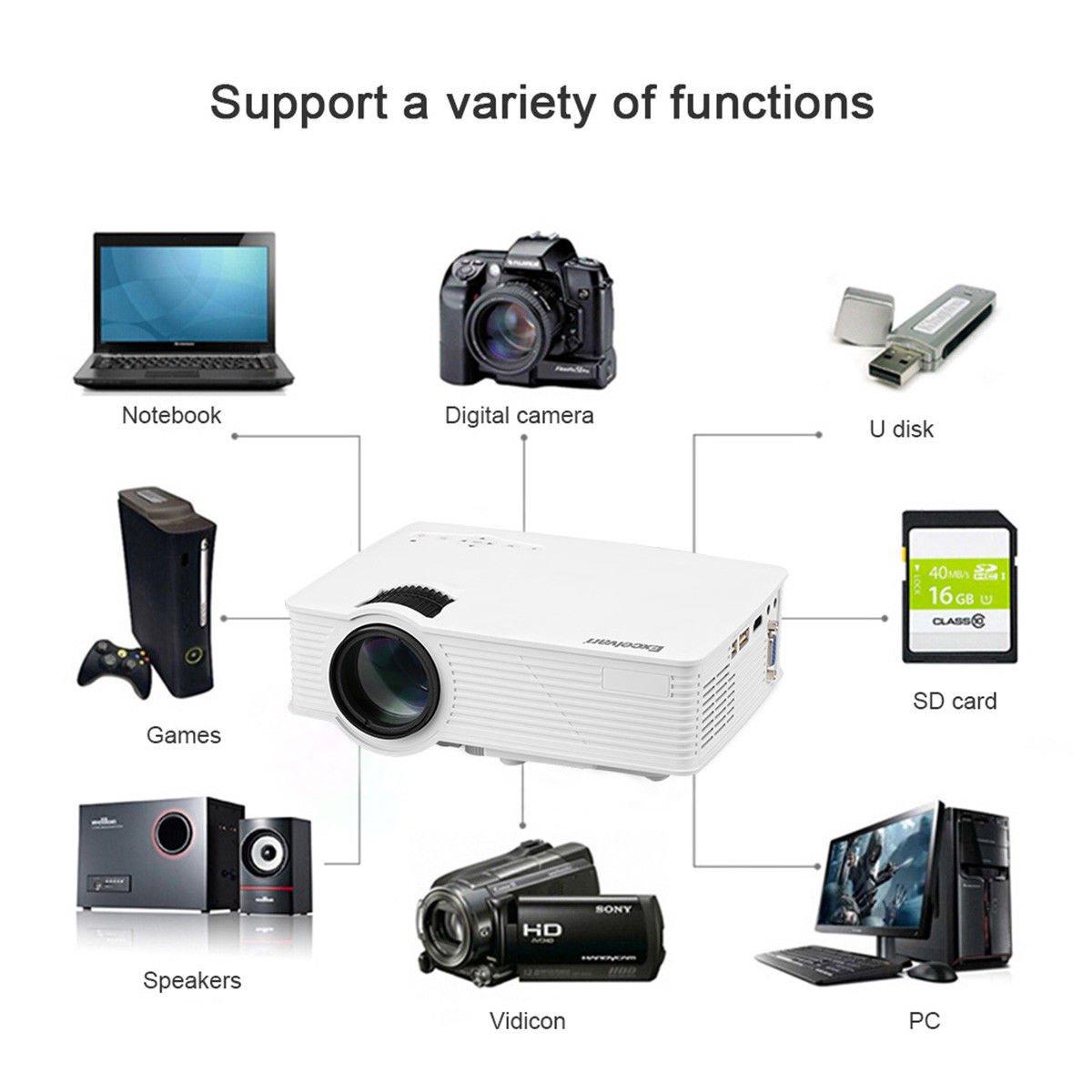 7000 Lumens 3D Full HD 1080P Mini Projector LED Multimedia USB HDMI Home Theater, Office Presentation by Alek...Shop