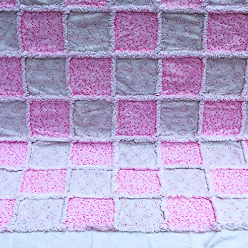 Pink and white adorable giraffes and stars baby girl flannel rag quilt by Laughing Heart Designs
