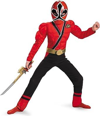 Boys Classic Muscle Power Ranger Rojo Samurai disfraz: Amazon.es ...
