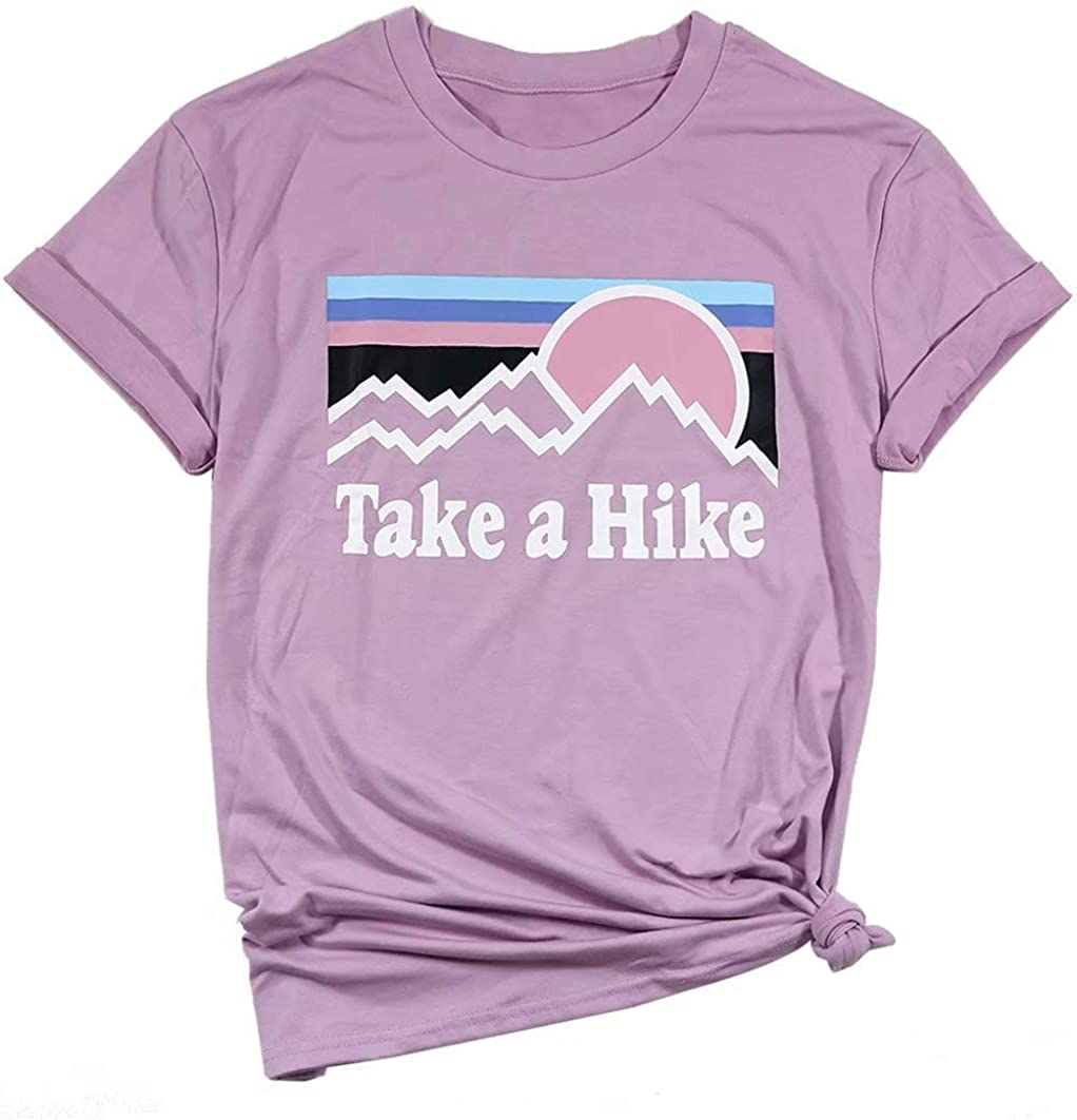 Erxvxp Women Take A Hike Letter Printed Casual T-Shirt Round Neck Tops