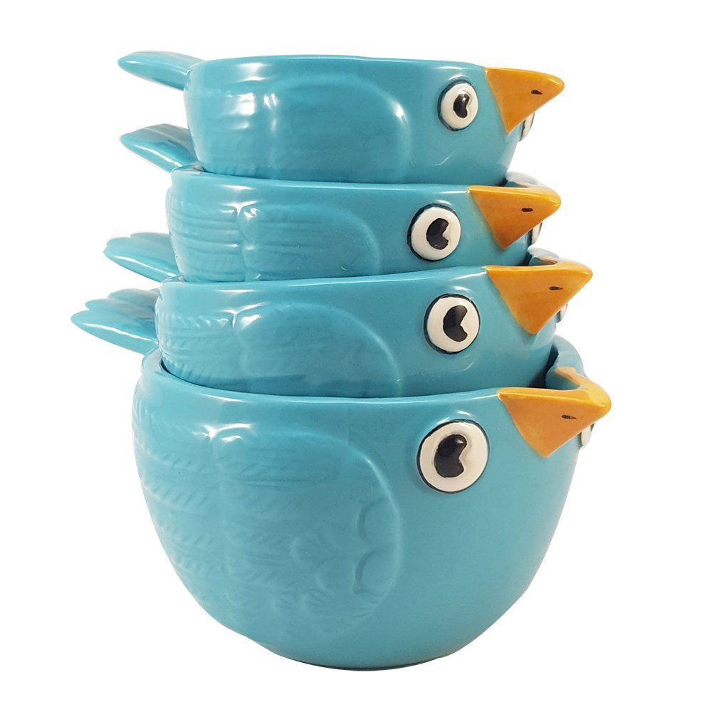 Creative Adorable Blue Birds Ceramic Nesting Measuring Cup Set of 4 Pacific Trading