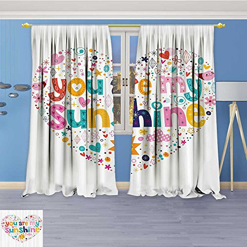 Collection Lab Shine Star (Art Curtains Collection,Heart Shaped Sunshine Motivatial Quote with Stars Circle Sun Cloud Infant Window Curtain Set of 2 Panels, Living Room, 96W x 108L Inch)