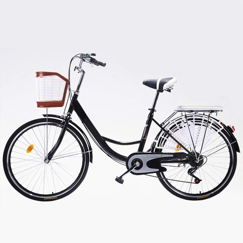 ZXLLO 26 Pulgadas Bicicleta para Mujeres Bicicleta De Ciudad con La Cesta Cambio De 6 Velocidades con Cojín, Campana, Reflector, Luz Trasera, Barandilla, Herramientas De Hardware: Amazon.es: Deportes y aire libre