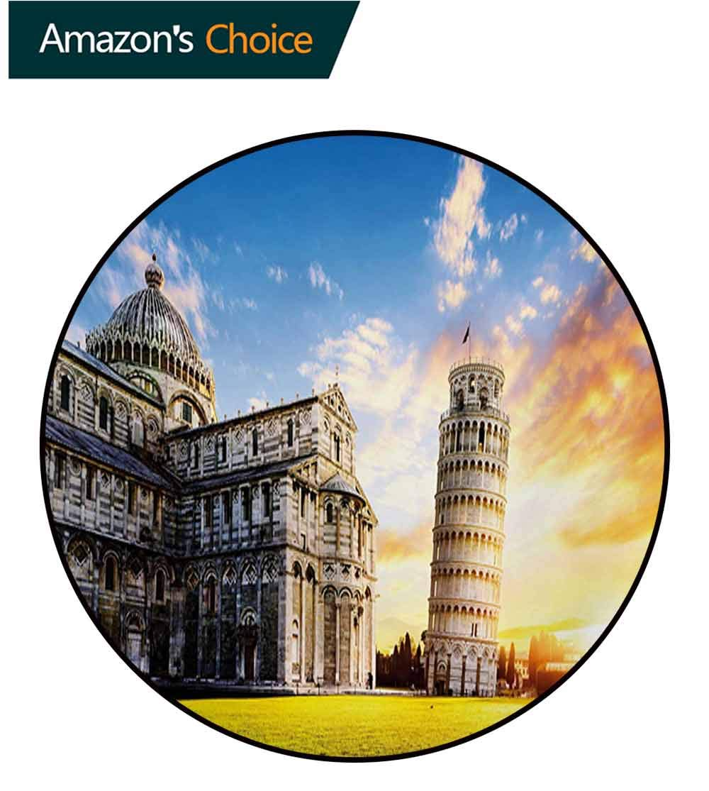 RUGSMAT Italy Carpet Gray Round Area Rug,Place of Miracoli Complex with The Leaning Tower of Pisa in Front Tourist Attraction Pattern Floor Seat Pad Home Decorative Indoor,Diameter-47 Inch