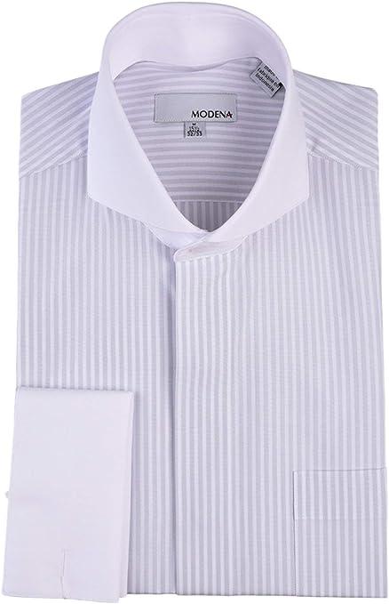 The White Collar Mens Fashion Luxury Slim Fit French Cuff Dress Shirts CC6398B