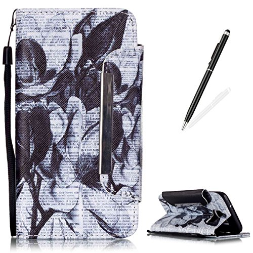 Samsung Galaxy S7 Edge Premium Leather Wallet Case [Free Black Touch Stylus],KaseHom Vintage Black and White Flower Pattern Design Folio Flip Magnetic Protective PU Leather Case Cover Skin (Galaxy Life Halloween)