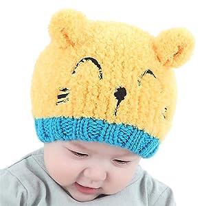 Elaco Baby Girls Boys Kids Toddler Knit Cap Warm Earflap Hat (Yellow)