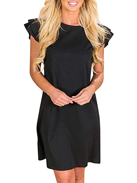 e65670fd5d8f Image Unavailable. Image not available for. Color  Beautife Womens Summer  Mini Dress Ruffle Cap Sleeve Casual ...