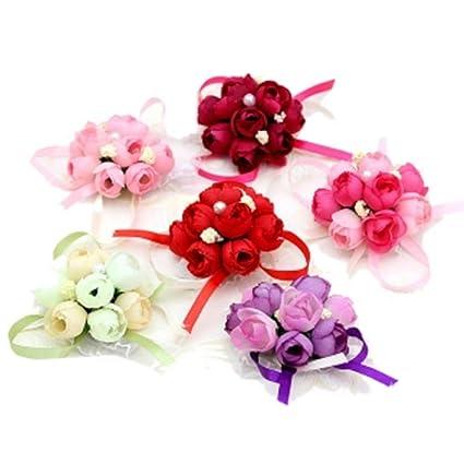 1c7fe3b905 4Pack Wedding Wrist Flowers Artificial Rose Corsage Party Prom Hand Flower  Decor for Bridal Bridesmaids Random Color