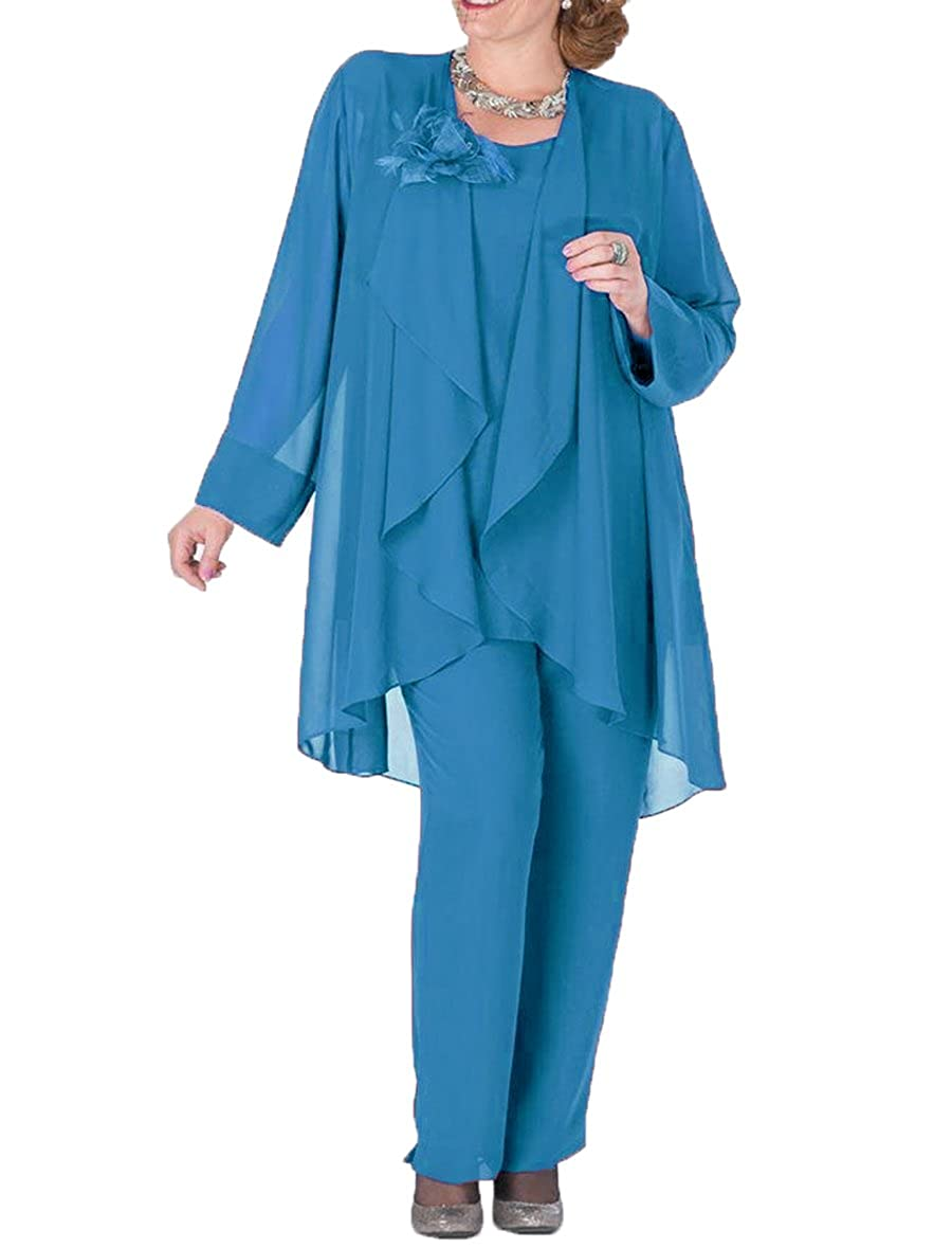 bluee The Peachess 3 Pieces Mother Pantsuits with Jacket Plus Size Formal Outfits