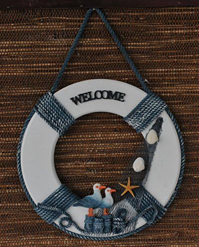 Attraction Design Y&K Decor Welcome Aboard Life Ring with Sailboat Scene (Duck)