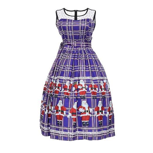 ad719c34ce7 Amazon.com  Nevera Women Christmas Plaid Santa Claus Printed Swing Lace  Party Panel Dress  Clothing
