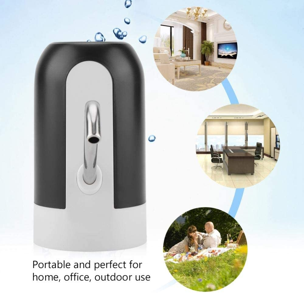 Negro Dispensador de Agua el/éctrico port/átil Bomba de Agua Potable con luz LED de Carga USB Interruptor de Botella de Agua para el hogar//Oficina Bomba de Botella de Agua