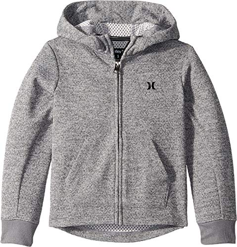 Zip Hoody Hurley - Hurley Kids Boy's One and Only Therma Fit Zip Hoodie (Little Kids) Dark Grey Heather 5
