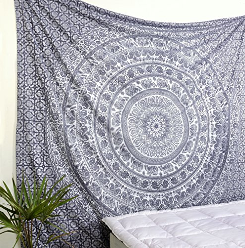 - Popular Handicrafts Elephant Tapestry Wall Hanging Hippie Bohemian Mandala Wall Art with Metallic Shine Tapestries (215x230cms) Grey and Silver