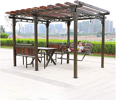 HLZY Gazebo de Muebles de jardín Madera Jardín Gazebo, Patio ...