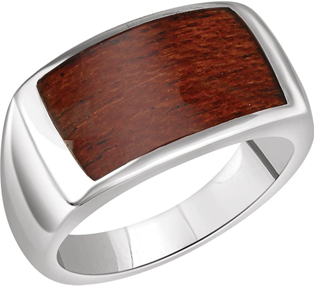 Bonyak Jewelry Sterling Silver Mens Rectangle Ring Size 11