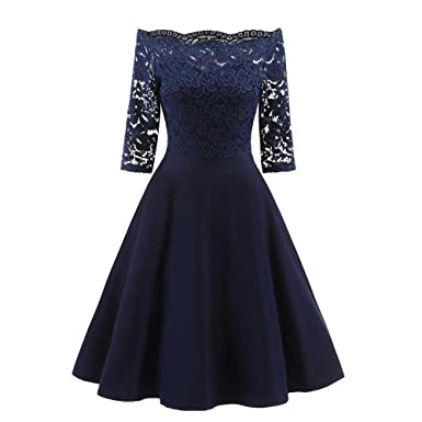 LILICAT Frauen Cocktailkleid Retro Swing Kleid Partykleider ...